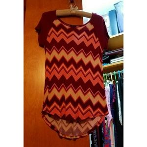 Warm Colored Chevron Ribbed Top